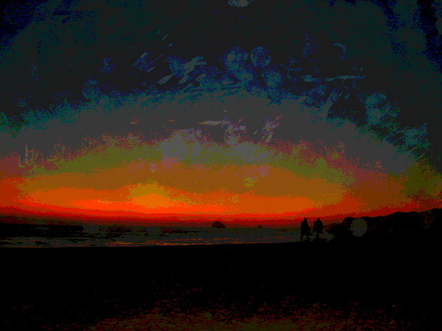 Coucher de soleil sur la plage de Zipolite -  Postérisation