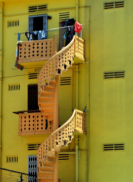 Singapore. Yellow stairs.