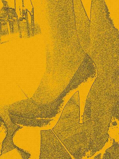 Les talons hauts de Lady Berhgam / Lady Berhgam' s high heels - Création mine de plomb en sepia