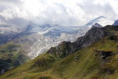 Blick vom Tuxer Joch Haus auf den Hintertuxer Gletscher