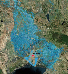 Map of the flooded area