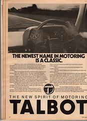 Talbot Advert - Car Magazine August 1979