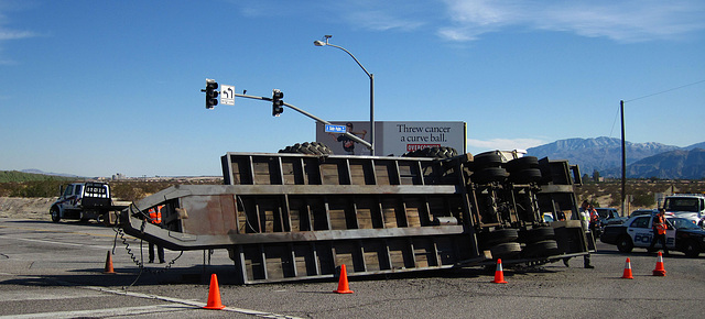 Overturned Truck Trailer at Vista Chino & Date Palm (1826)