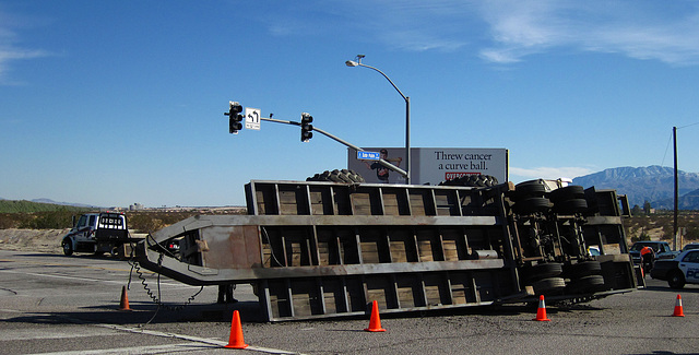 Overturned Truck Trailer at Vista Chino & Date Palm (1827)