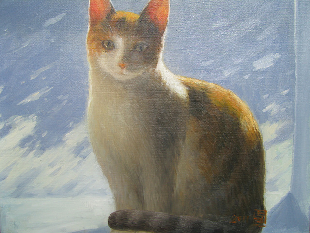 a Cat(Kato=고양이=猫)_oil on canvas_31.8x40.9cm(6f)_2011_HO Song