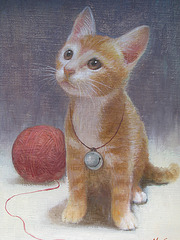 a Baby-Cat(Katido=새끼 고양이=小猫)_oil on canvas_33.4x24.2cm(4f)_2012_HO Song