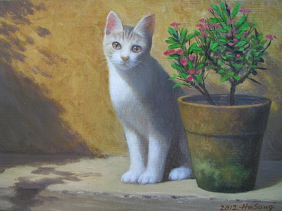 a Cat by a Flower-Pot(Kato apud Euxforbio=화분 옆에 앉은 고양이=猫)_oil on canvas_31.8x40.9cm(6f)_2012_HO Song