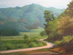 Landscape with Mountain Path=Montvilagxa Pejzagxo=山村風景_oil on canvas=olee sur tolo_38x45.5mm_2010_HO Song