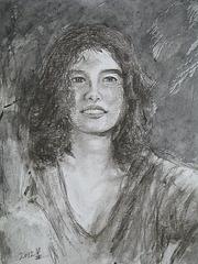 un Dessin Exercice de une petite fille= Desegna Ekzerco_pastel pencil +  chinese ink_25x20cm_2012_HO Song