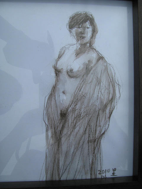 Quick Drawing: a woman standing nude= desegna ekzerco_pastel pencil + water_25x20cm_2010_HO Song