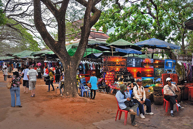 Souvenir shops along the side of Angkor Wat