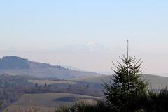Dans le Beaujolais - Le Mont Blanc au loin