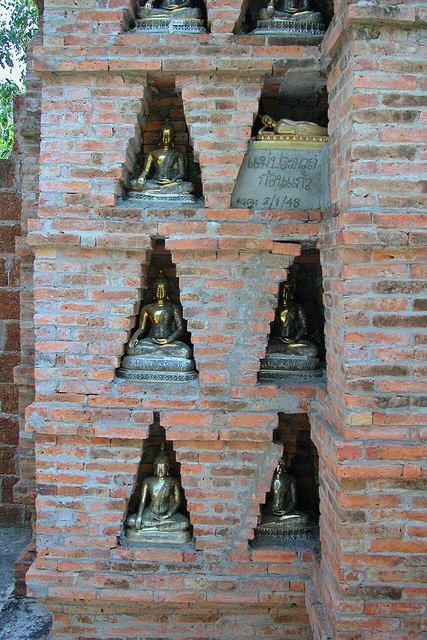Recesses in the wall for Buddha images