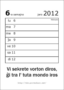 Unu paĝo el la kalendaro