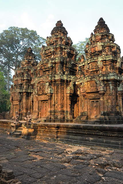 Three towers of Banteay Srei