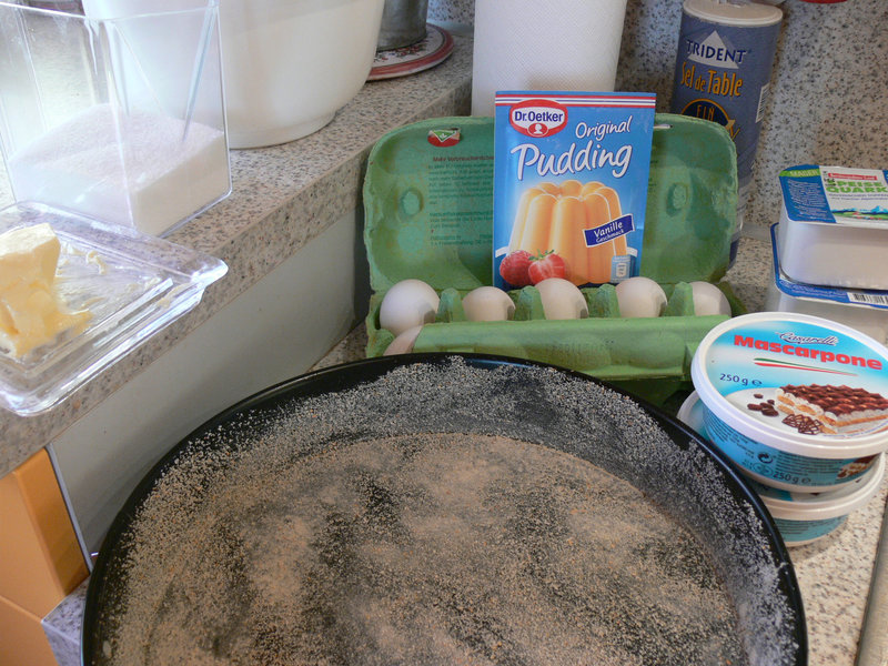 Zutaten für enen Käsekuchen ohne Boden
