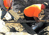Repairing water line at Camino Campañero