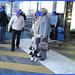Dame blonde du bel âge en bottes de Dominatrice avec son toutou - Blonde mature in Dominatrix Boots with her dog- 19-10-2008 -  Aéroport de Bruxelles  - Anonymement vôtre / Anonymously yours