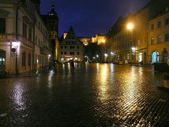 Pirna im Regen mit Blick aufs Schloß