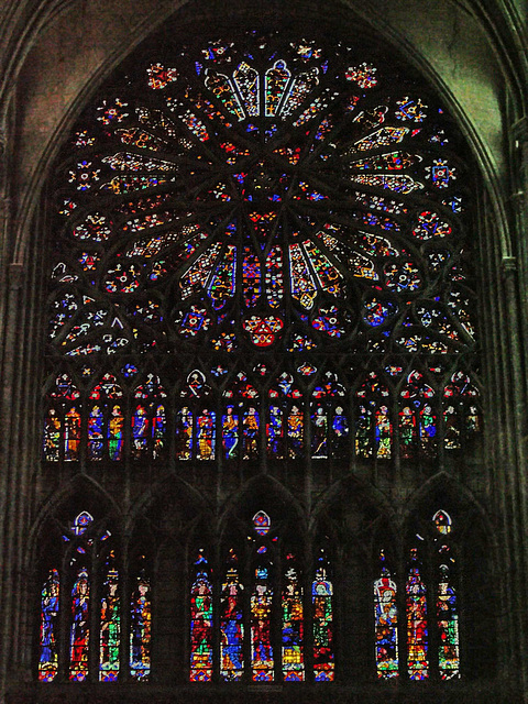 PICT16500ac Amiens Cathedral North Transept Rose of the Winds and Lancets