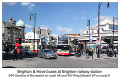 Brighton & Hove Buses nos. 844 & 407 at Brighton station - 2.4.2013