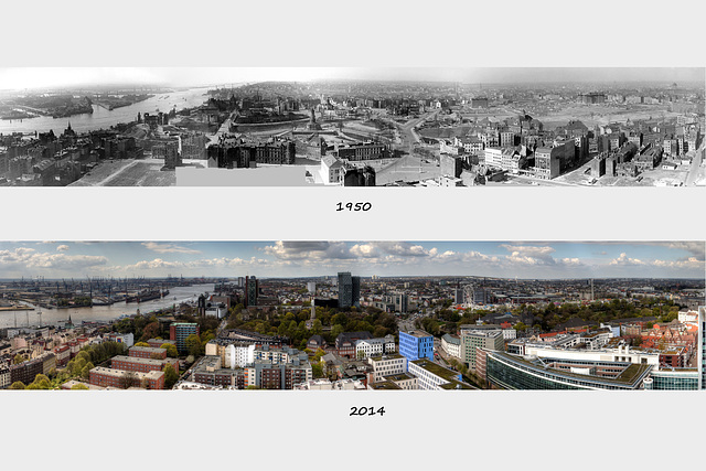 Hamburg Now and Then - View from the Belltower of St. Michaelis - West