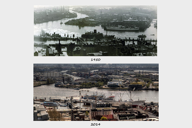 Hamburg Now and Then - View from the Belltower of St. Michaelis - South