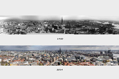 Hamburg Now and Then - View from the Belltower of St. Michaelis - East