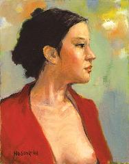 Portrait of Model S=Portreto de Modelo S(모델S양흉상S女胸像)_oil on canvas= olee sur tolo_ 41x31.8cm(6f)_2008_HO Song