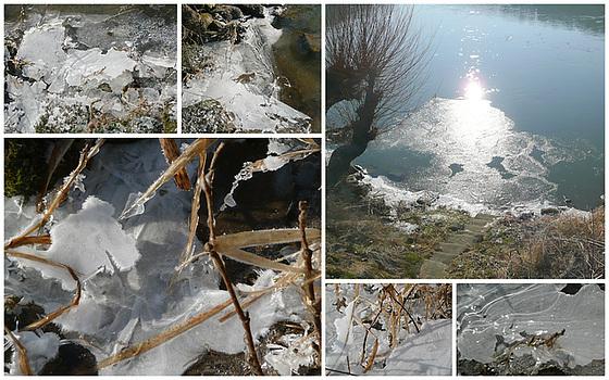 Eis am Ufer der Elbe am 2.2.2011 bei -15°C