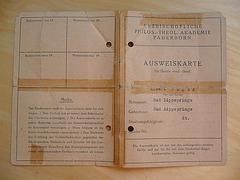 Ausweiskarte für die Kirchliche Hochschule in Paderborn von 1953 - 1957