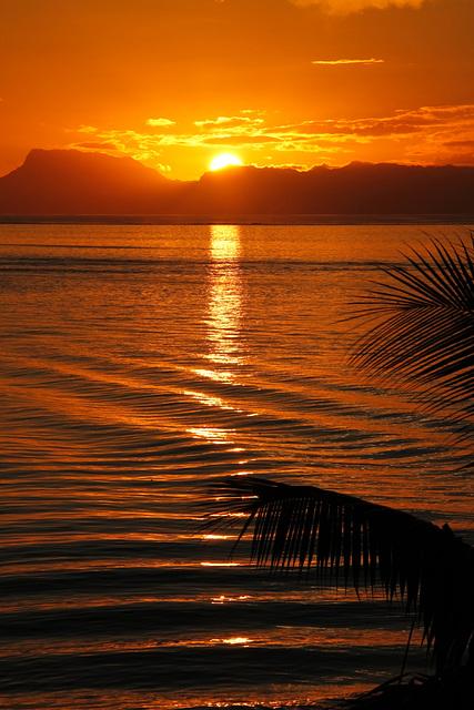 waves & orange sunset
