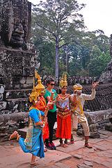 Memorable photo in Bayon temple complex