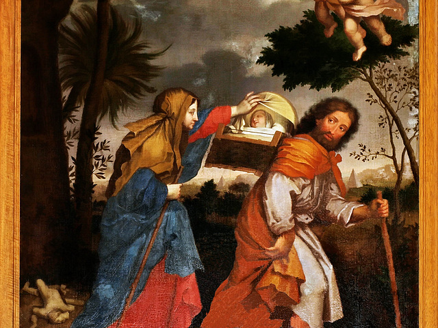 P9042349ac Magny-en-Vexin Church The Escape in Egypt (Oil Painting Detail)
