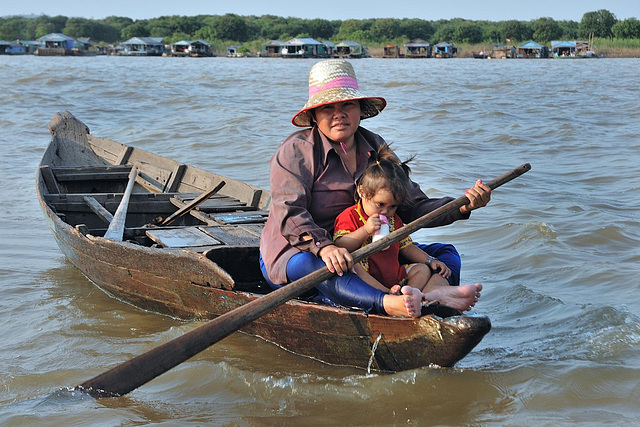 A villager woman and her child