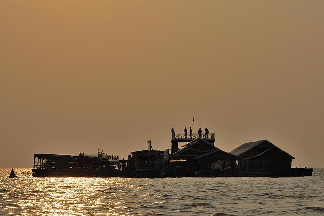Tourist island in sunset light