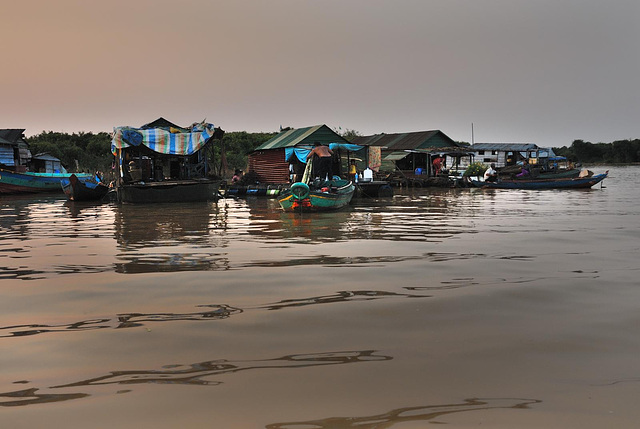 Floating huts along the river