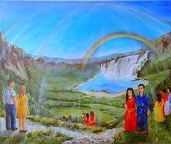 Regenbogen über Wasserfall - Bild von Heidrun Müller