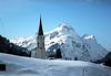 Kirchturm von Warth in Vorarlberg mit Schröcken