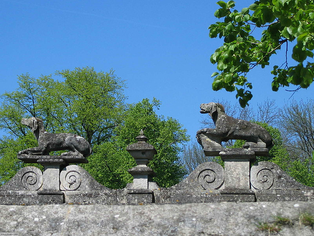 IMG 7698ac Raray Castle Hunting Dogs Balustrade in Spring