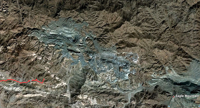 Google Earth View Of Our Route Near Eagle Mountain Mine