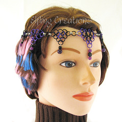Purple and Black Chainmaille Circlet Crown