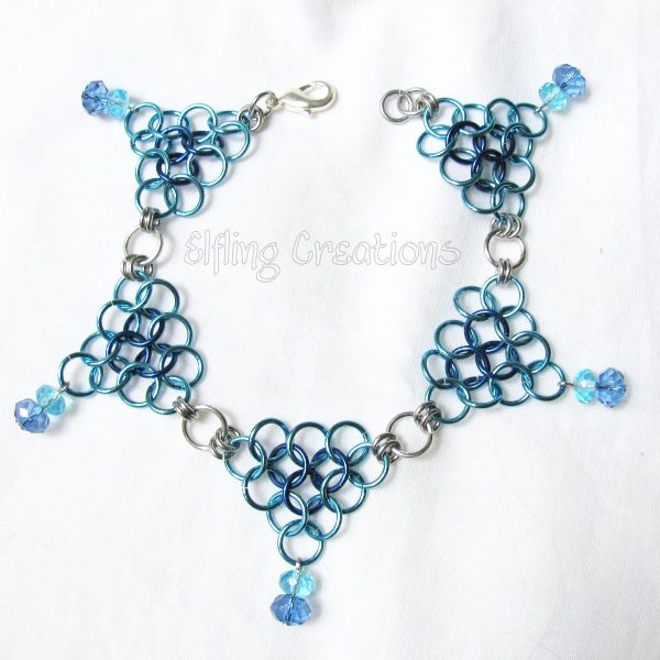 Silver and Blue Chainmaille Anklet