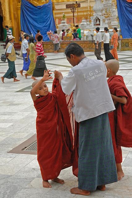 Young monks at the pagoda platform
