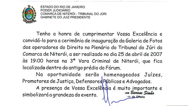 Convite para inauguração da Galeria de Fotos no Plenário do Tribunal do Júri da Comarca de Niterói