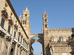 P3266237ac Palermo Cathedral Duomo West Facade Belfries