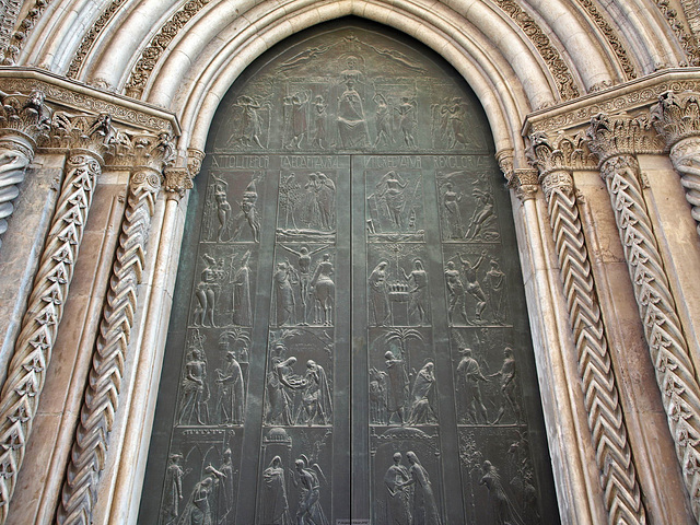 P3266238ac Palermo Cathedral Duomo West Facade Central Bronze Door