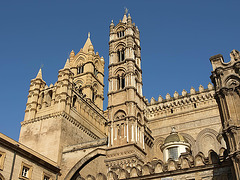 P3266236ac Palermo Cathedral Duomo West Facade Belfries