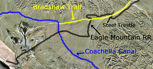 Eagle Mountain Railroad - Salt Creek Basin - Bradshaw Trail - annotated