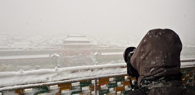 Snowing over Forbidden city